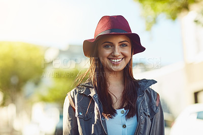 Buy stock photo Portrait of a young beautiful woman sight seeing in the city