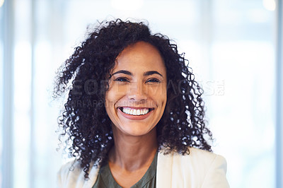 Buy stock photo Portrait of an attractive young businesswoman standing in the office