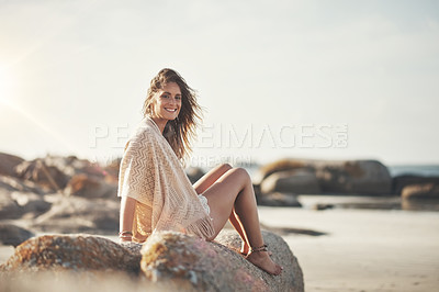 Buy stock photo Portrait of an attractive young woman at the beach