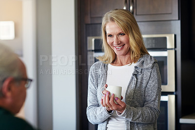 Buy stock photo Cropped shot of a senior married couple spending time together at home