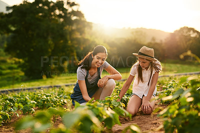 Buy stock photo Shot of an attractive young woman and her daughter working the fields on their family farm