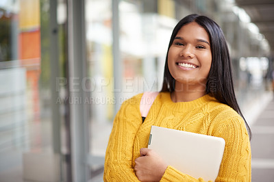 Buy stock photo Portrait of a beautiful young female student on campus