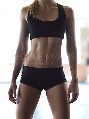 Buy stock photo Cropped shot of an unrecognizable woman in the gym