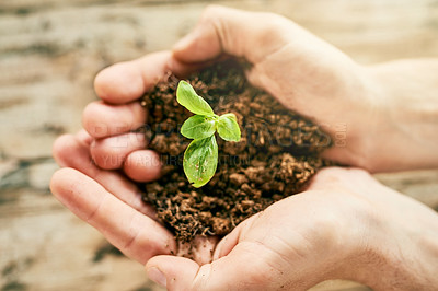 Buy stock photo Closeup shot of a person holding a plant growing out of soil