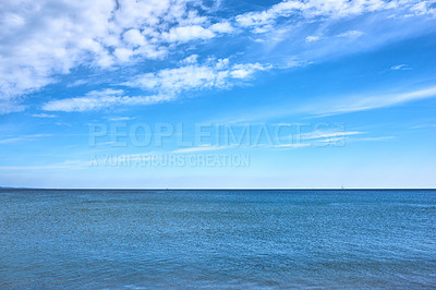 Buy stock photo A calm summer day at the beach and shoreA calm summer day at the beach and shore
