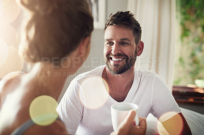 Buy stock photo Cropped shot of a happy young couple in the morning at home