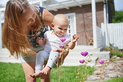 Buy stock photo Shot of an adorable baby girl exploring the garden with her mother at home