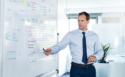 Buy stock photo Shot of a young businessman giving a presentation on a whiteboard in an office