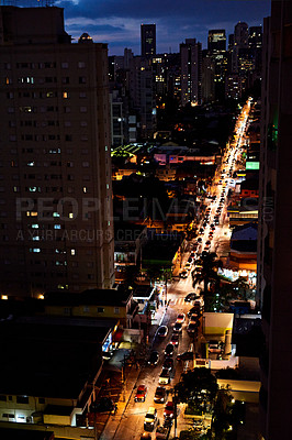 Buy stock photo Aerial shot of traffic in the city