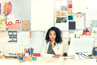 Buy stock photo Shot of a creative worker sitting in her office