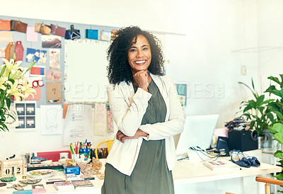 Buy stock photo Cropped shot of a designer standing in her office