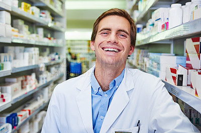Buy stock photo Portrait of a confident young pharmacist working in a pharmacy