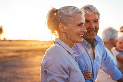 Buy stock photo Cropped shot of a senior couple spending time outdoors