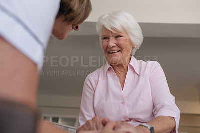 Buy stock photo Shot of a happy senior woman and a nurse in a retirement home