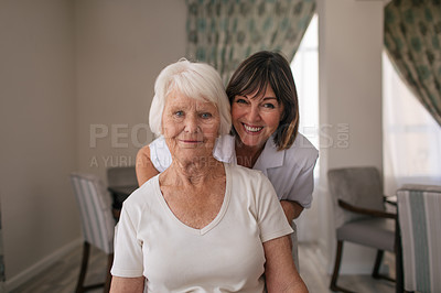 Buy stock photo Portrait of a happy senior woman and a nurse in a retirement home