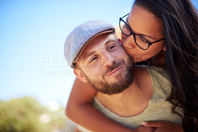 Buy stock photo Cropped shot of an affectionate couple outdoors