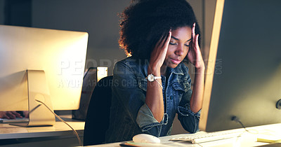 Buy stock photo Cropped shot of a beautiful young woman working at night in a modern office