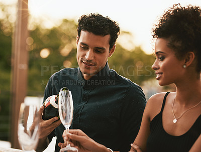 Buy stock photo Shot of friends having a dinner party at a restaurant