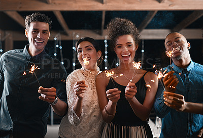 Buy stock photo Portrait of a group of friends having fun together at a party