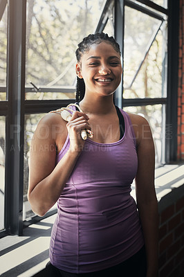 Buy stock photo Portrait of a beautiful young woman at the gym