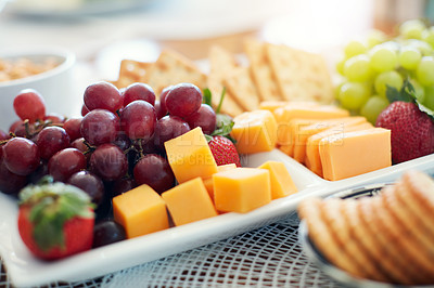 Buy stock photo High angle shot of an assorted healthy food platter
