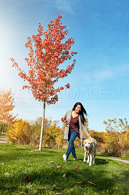 Buy stock photo Shot of a young woman taking her dog for a walk through the park