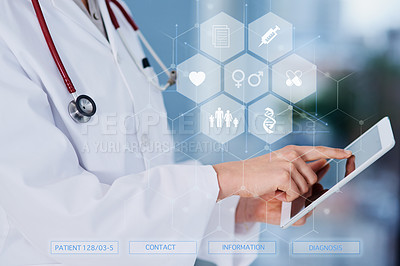 Buy stock photo Cropped shot of an unrecognizable female doctor using a tablet while standing in the hospital
