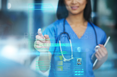Buy stock photo Cropped shot of an unrecognizable female nurse using a touchscreen interface while standing in the hospital