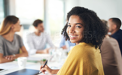Buy stock photo Cropped portrait of an attractive young businesswoman sitting in the boardroom during a meeting