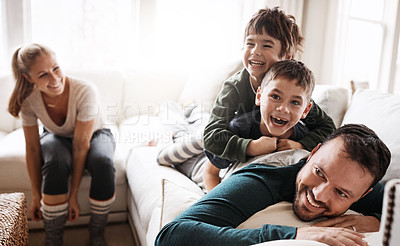 Buy stock photo Portrait of a happy family having fun together at home