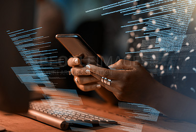 Buy stock photo Closeup shot of a programmer using a cellphone while working on a source code at night