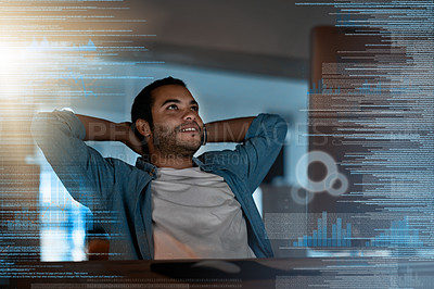 Buy stock photo Shot of a programmer taking a break while working on a computer code at night