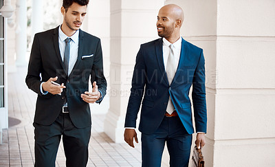 Buy stock photo Cropped shot of young handsome businessmen talking outside