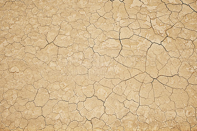 Buy stock photo High angle shot of dry and cracked land