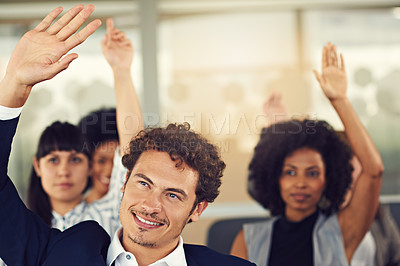 Buy stock photo Cropped shot of businesspeople hands raised asking questions during a seminar