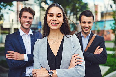 Buy stock photo Portrait of a businesspeople outside