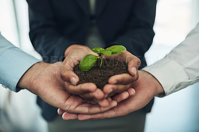 Buy stock photo Cropped shot of a group of businesspeople holding a plant growing out of soil