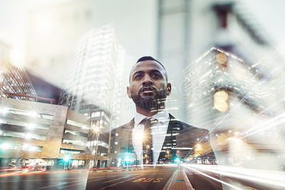 Buy stock photo Multiple exposure shot of a young businessman superimposed over a city at night time