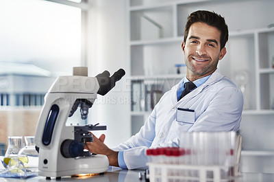 Buy stock photo Portrait of a scientist working in a lab
