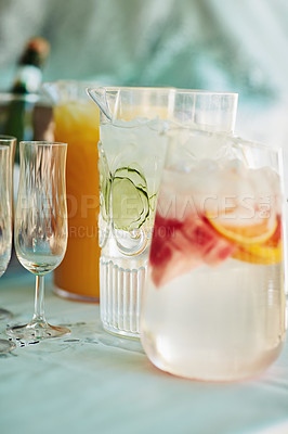 Buy stock photo Shot of beverages on a table at a tea party inside