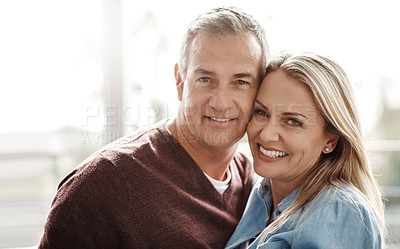 Buy stock photo Portrait of a happy mature couple at home