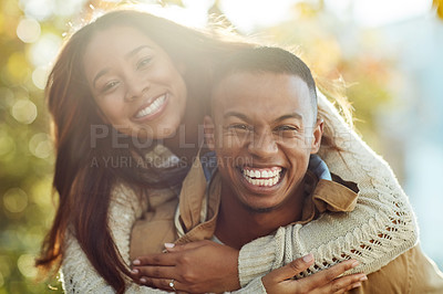 Buy stock photo Portrait of a young attractive couple in a public park outside