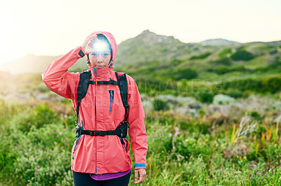 Buy stock photo Cropped portrait of an attractive young female athlete out for a morning run