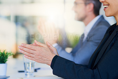 Buy stock photo Closeup shot of unrecognizable businesspeople applauding in an office