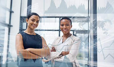 Buy stock photo Multiple exposure portrait of two confident businesswomen in a modern office superimposed on a cityscape