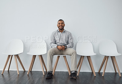 Buy stock photo Portrait of a businessman sitting on a chair
