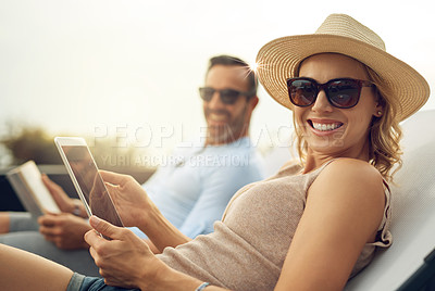 Buy stock photo Cropped portrait of an attractive mature woman relaxing outdoors with her husband