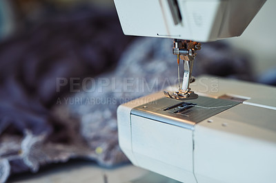 Buy stock photo Closeup show of a sewing machine in a workshop