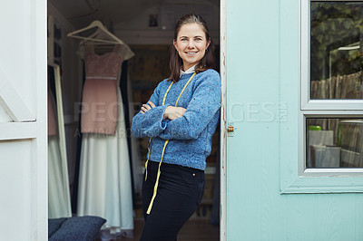 Buy stock photo Cropped shot of a fashion designer smiling at the camera