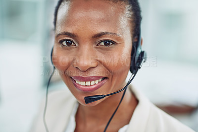 Buy stock photo Portrait of a call centre agent working in an office